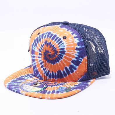 Pit Bull Tie Dye Trucker Hats Wholesale [Navy/Orange]