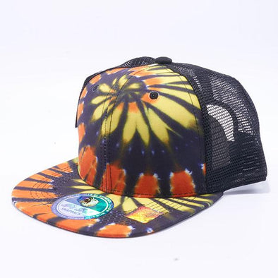 Pit Bull Tie Dye Trucker Hats Wholesale [Black/Gold]