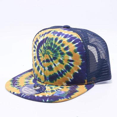 Pit Bull Tie Dye Trucker Hats Wholesale [Navy/Gold]