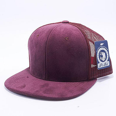 Pit Bull Suede Flat Brim Trucker Hats Wholesale [Wine]