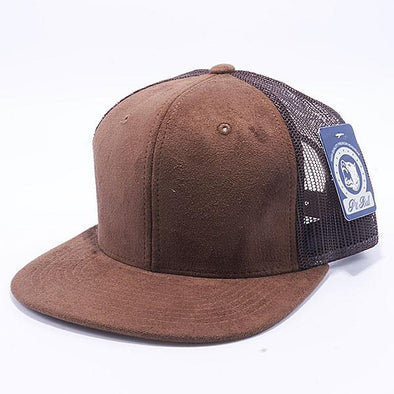 Pit Bull Suede Flat Brim Trucker Hats Wholesale [Brown]