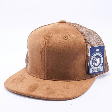Pit Bull Suede Flat Brim Trucker Hats Wholesale [Wheat]