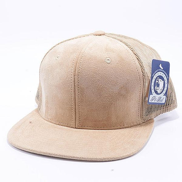 Pit Bull Suede Flat Brim Trucker Hats Wholesale [Stone]