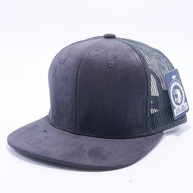 Pit Bull Suede Flat Brim Trucker Hats Wholesale [Charcoal]