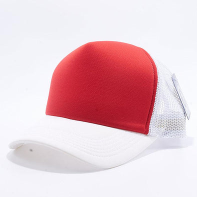 Pit Bull 5 Panel Foam Trucker Hats Wholesale [White/Red/White]