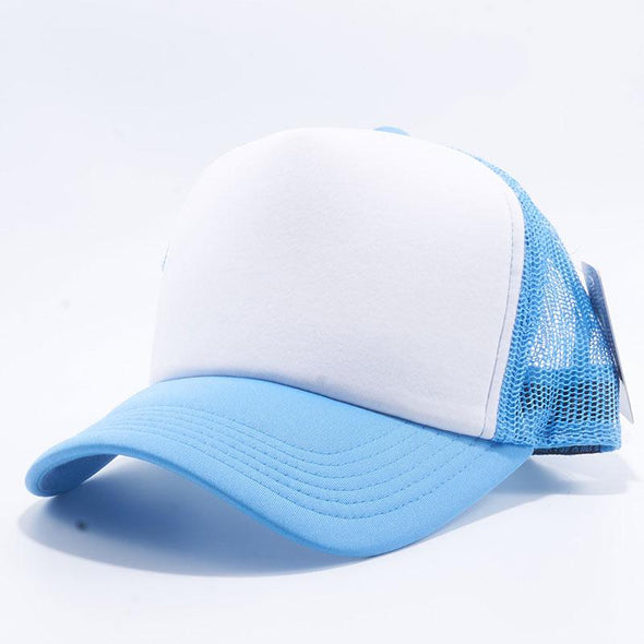 Pit Bull 5 Panel Foam Trucker Hats Wholesale [Sky/White/Sky]
