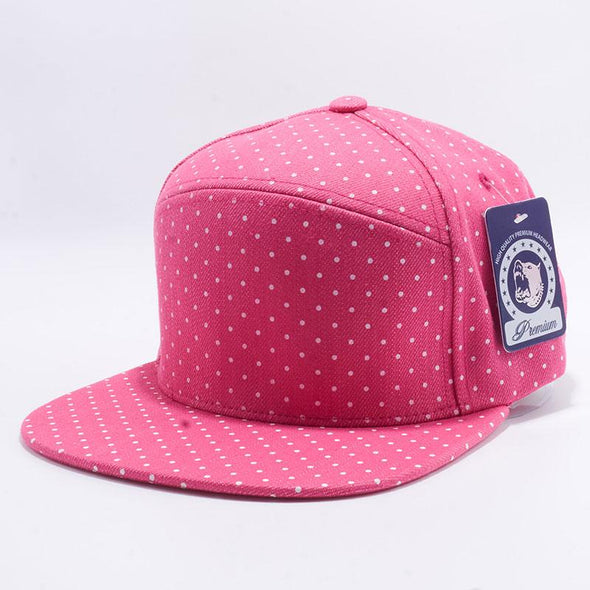 Pit Bull Polkadot Strapback Hats Wholesale [Denim H.Pink/White]