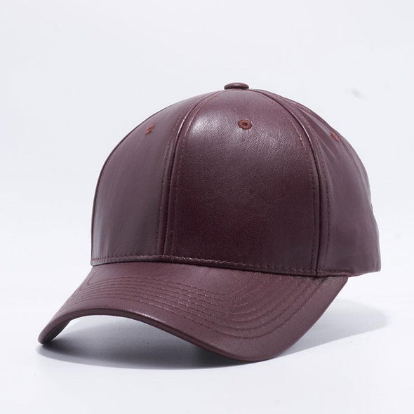 Pit Bull Burgundy Leather Baseball Cap Hat