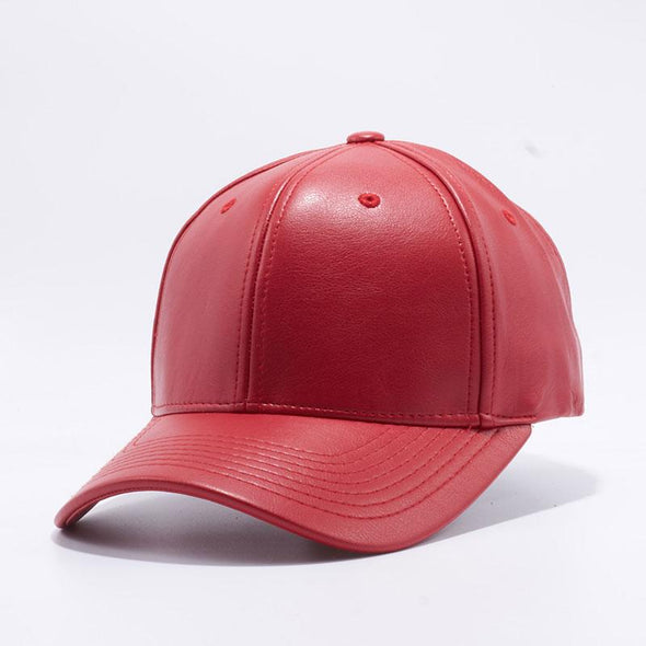 Pit Bull Red Leather Baseball Cap Hat