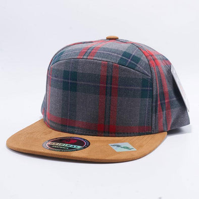 Pit Bull Check Suede Snapback Hats Wholesale [Grey/Khaki]