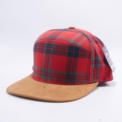 Pit Bull Check Suede Snapback Hats Wholesale [Red-1/Khaki]