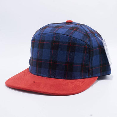 Pit Bull Check Suede Snapback Hats Wholesale [Royal/red]