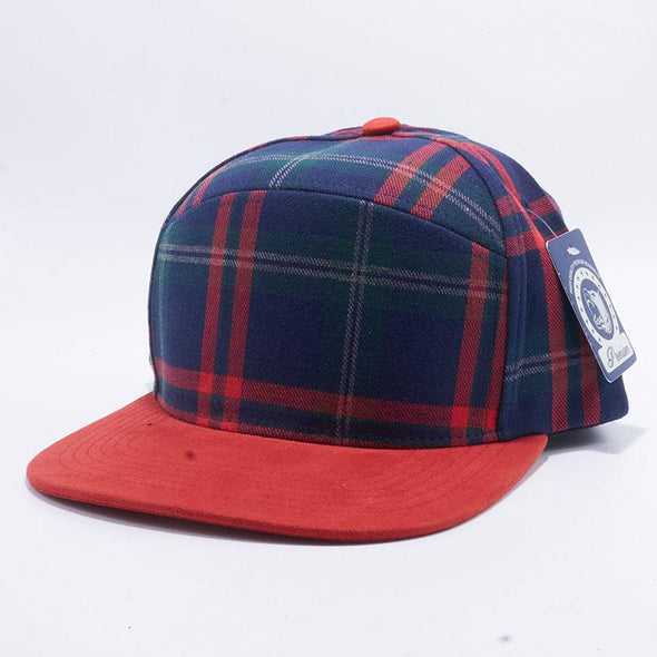 Pit Bull Check Suede Snapback Hats Wholesale [Navy/red]