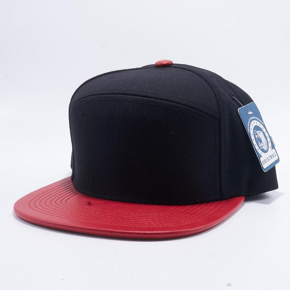 Pit Bull Premium Black and Red Wool Blend Leather Visor Snapback Hat Cap Wholesale and Custom