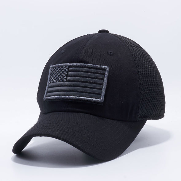 Pit Bull Dv557 Us Flag Velcro Patch Micro Mesh Hats [Black] Exclusive