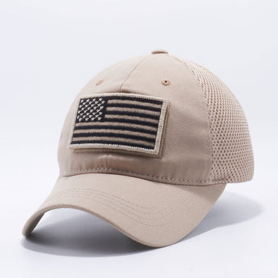 Pit Bull Dv557 Us Flag Velcro Patch Micro Mesh Hats [Khaki] Exclusive