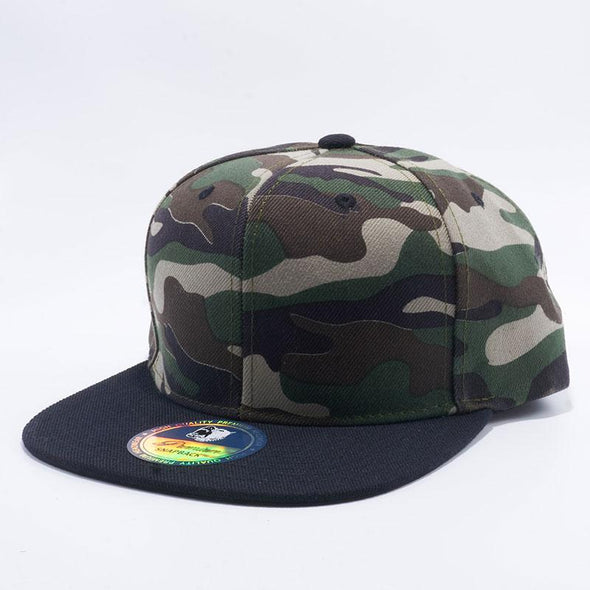 Pit Bull Two Tone Green Camouflage and Black Blank Acrylic Snapback Hats Whoelsale.
