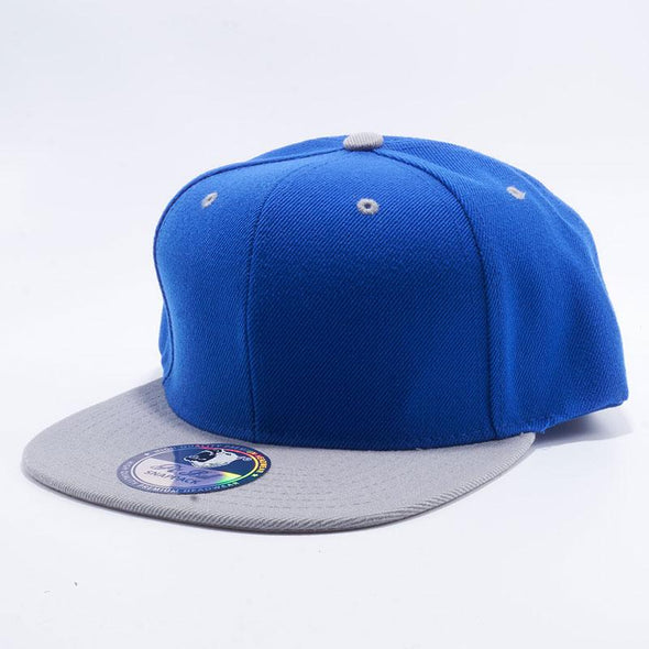 Pit Bull Two Tone Royal Blue and Light Grey Blank Acrylic Snapback Hats Whoelsale.