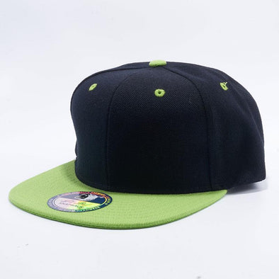 Pit Bull Two Tone Black and Lime Green Blank Acrylic Snapback Hats Whoelsale.