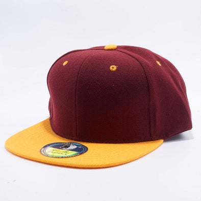 Pit Bull Two Tone Burgundy and Gold Blank Acrylic Snapback Hats Whoelsale.