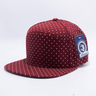 Pit Bull Polkadot Strapback Hats Wholesale [Burgundy/white] Adjustable