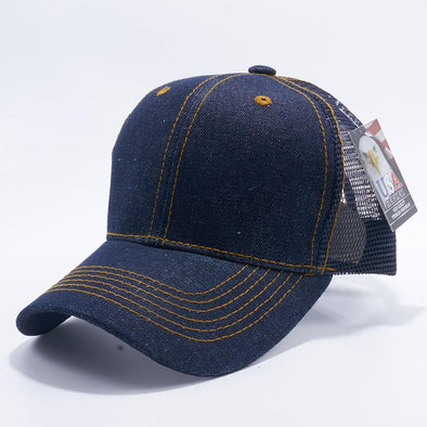Pit Bull Blank Blue Denim Trucker Mesh Hats Caps Wholesale