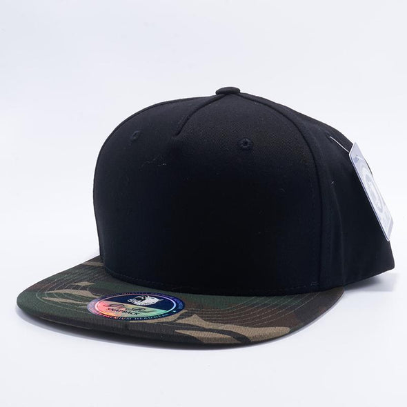 Pit Bull Black and Green Camouflage Two Tone Blank 5 Panel Snapback Hats Whoelsale.