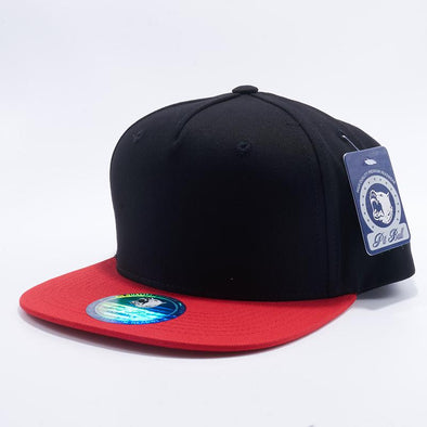 Pit Bull Black and Red Two Tone Blank 5 Panel Snapback Hats Whoelsale.