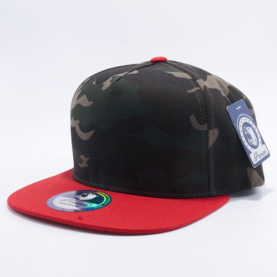 Pit Bull Green Camouflage and Red Two Tone Blank 5 Panel Snapback Hats Whoelsale.