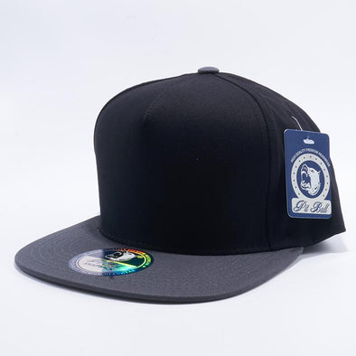 Pit Bull Black and Charcoal Two Tone Blank 5 Panel Snapback Hats Whoelsale.