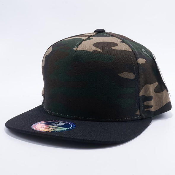 Pit Bull Green Camouflage and Black Two Tone Blank 5 Panel Snapback Hats Whoelsale.