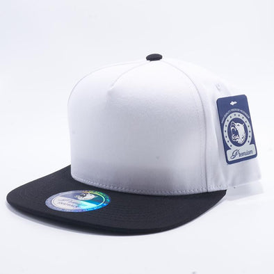 Pit Bull Two Tone White and Black Blank 5 Panel Snapback Hats Whoelsale.