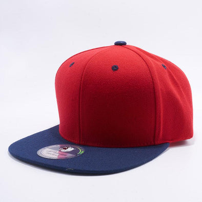 Pit Bull Two Tone Red and Dark Navy Blank Acrylic Snapback Hats Whoelsale.