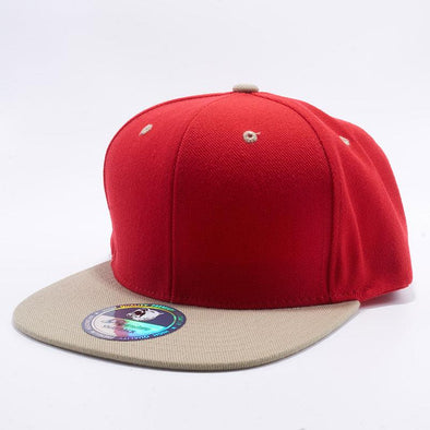 Pit Bull Two Tone Red and Khaki Blank Acrylic Snapback Hats Whoelsale.