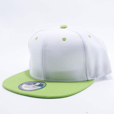 Pit Bull Two Tone White and Lime Green Blank Acrylic Snapback Hats Whoelsale.