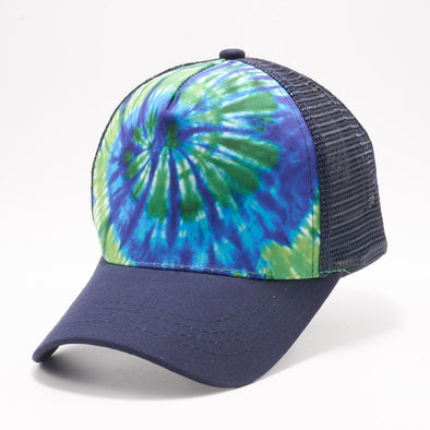 Pb227 Tie Dye Curved Visor Trucker [Green/blue]