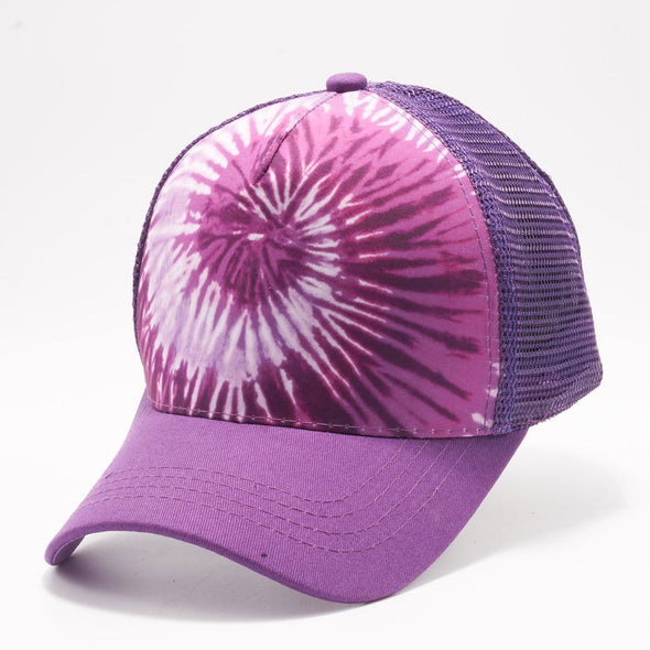 Pb227 Tie Dye Curved Visor Trucker [Purple]