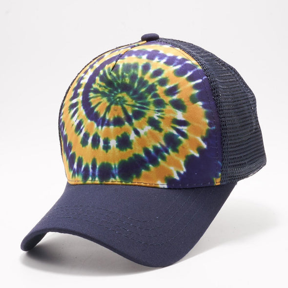 Pb227 Tie Dye Curved Visor Trucker [Navy/gold]