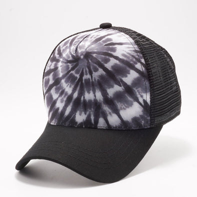 PB227 Tie Dye Curved Visor Trucker [Black]