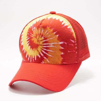 Pb227 Tie Dye Curved Visor Trucker [Red]
