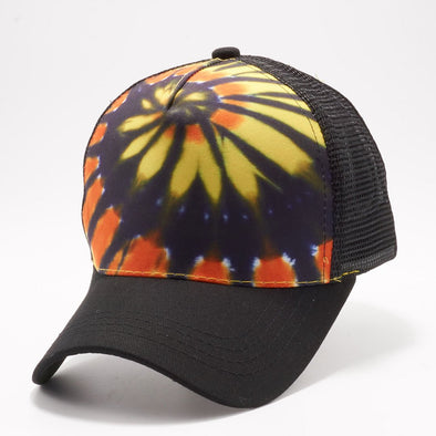 Pb227 Tie Dye Curved Visor Trucker [Black/gold]
