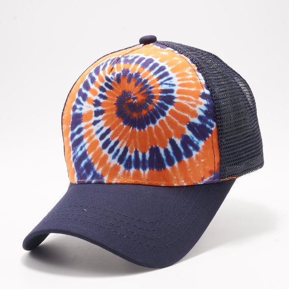 Pb227 Tie Dye Curved Visor Trucker [Navy/orange]