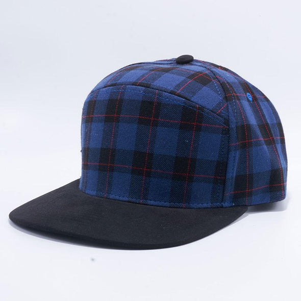 Pit Bull Check Suede Snapback Hats Wholesale [Royal/black]