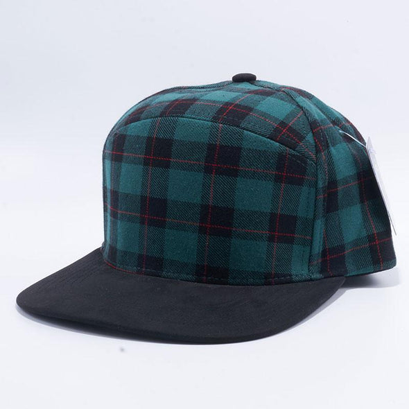 Pit Bull Check Suede Snapback Hats Wholesale [Green/black]