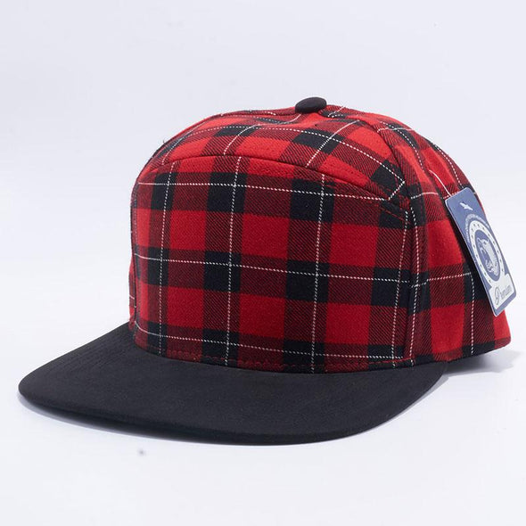 Pit Bull Check Suede Snapback Hats Wholesale [Red-2/Black]