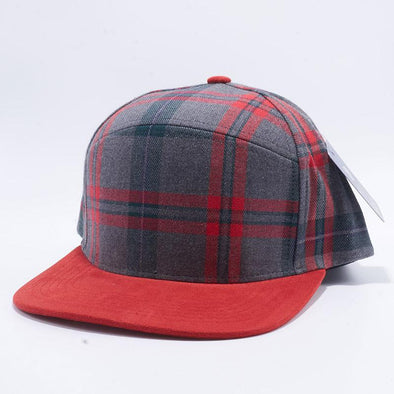 Pit Bull Check Suede Snapback Hats Wholesale [Grey/Red]