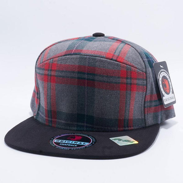 Pit Bull Check Suede Snapback Hats Wholesale [Grey/Black]