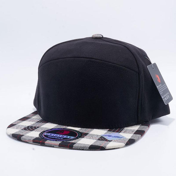 Pit Bull Check Suede Snapback Hats Wholesale [Black/White]