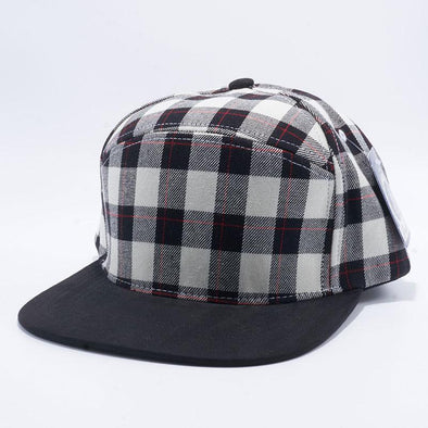 Pit Bull Hybrid Panel White and Black Check Suede Snapback Hats Wholesale
