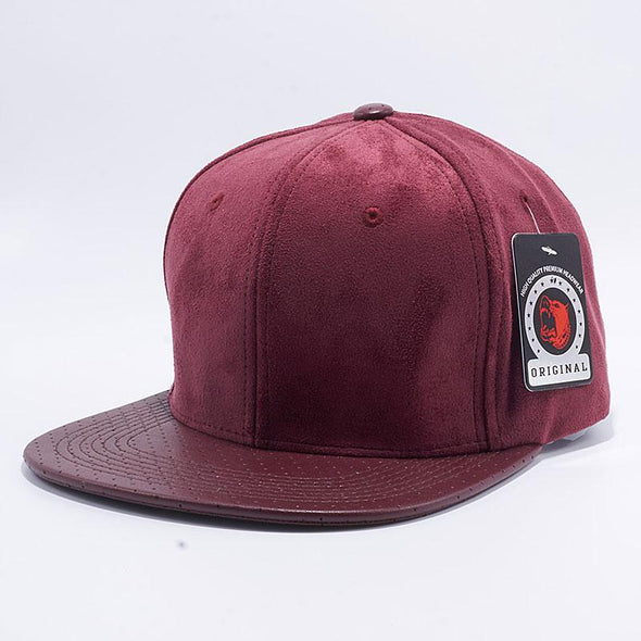 Pit Bull Suede Perforated Leather Snapback Hats Wholesale [Burgundy]